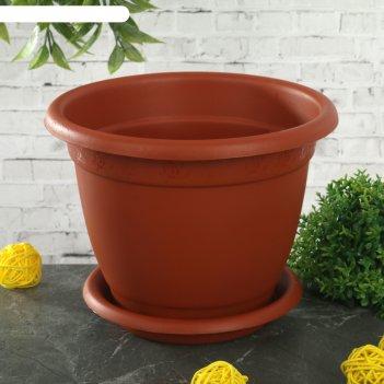Горшок для цветов d=17 см борнео №2, поддон, терракотовый
