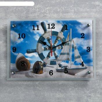 Часы настенные, серия: море, штурвал и яхта на песке, 25х35  см, микс