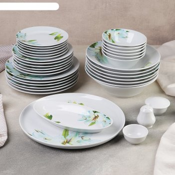 Сервиз столовый 36 предметов, 4 вида тарелок, идиллия. цветущая лилия