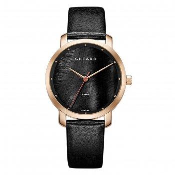 Часы наручные женские gepard, чёрный циферблат, чёрный ремешок, 1252a3l5-1