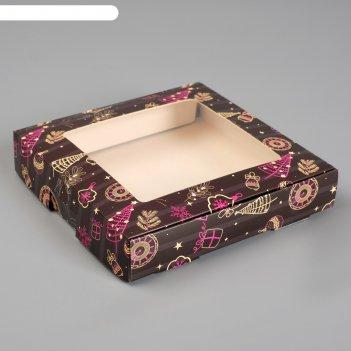 Коробка самосборная бесклеевая, новый год, 16 х 16 х 3 см