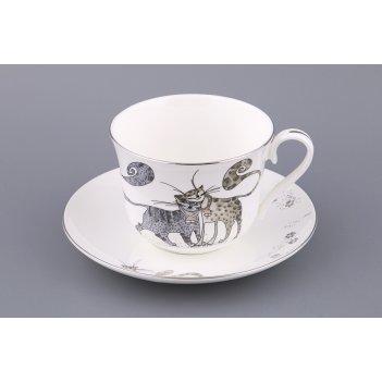 Чайный набор котики на 1 персону 2 пр. 450 мл (кор=24набор.)