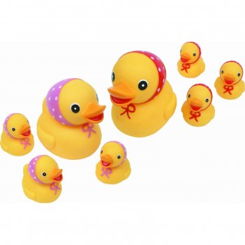 Набор резиновых игрушек для ванной семейка уточек