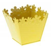 Кашпо оцинкованное цветочный край 10*11 см, желтое