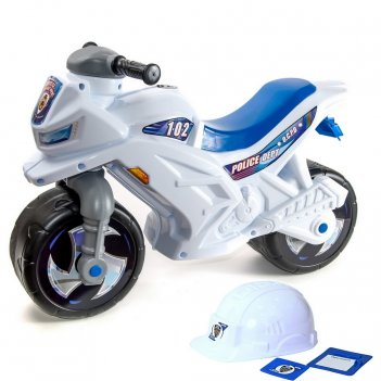 Ор501в2 каталка-мотоцикл беговел racer rz 1 полиция со шлемом цвет бело-си