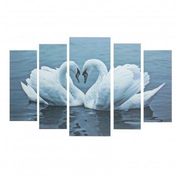 Модульная картина лебеди 20*50 - 2 части, 20*60 2 части, 30*70 - 1 часть,
