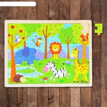 Пазл в деревянной рамке зоопарк, 60 элементов