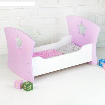 Кроватка люлька «сердце ангела» белый/сиреневый размер 49*30*23  крл002