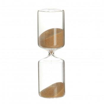 Часы песочные классика, 4.5х4.5.15,стекло, бежевый песок