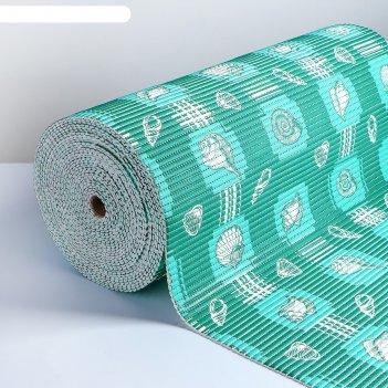 Коврик для ванной комнаты 0,65х15 м морской цвет зеленый v20gr