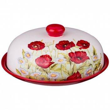 Блюдо для блинов с крышкой полевые маки диаметр=23 см. высота=10 см. (кор=