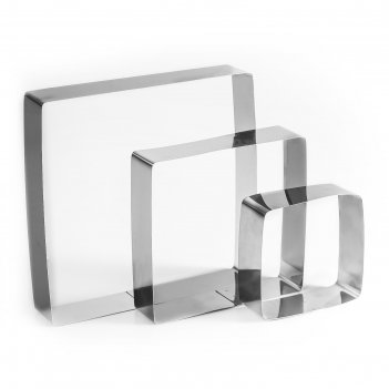 Набор форм для выпечки и выкладки квадрат, 20 х 20 х 5 см, 3 шт