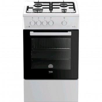 Плита газовая beko fsg 52010 w, 4 конфорки, 60 л, эмаль, чёрно-белая