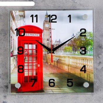 Часы настенные, серия: город, английская телефонная будка, 25х25  см, микс