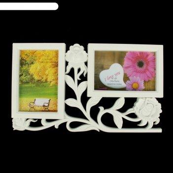 Фоторамка пластик на 2 фото 10х15 см 3 розы белая 34х20 см