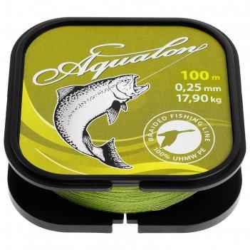 Леска плетёная aqua aqualon olive, d=0,25 мм, 100 м, нагрузка 17,9 кг