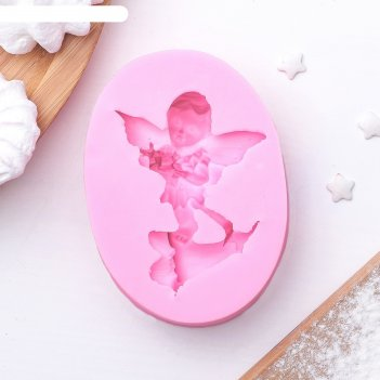 Молд 8,4х6х1,8 см послание ангела, цвет розовый
