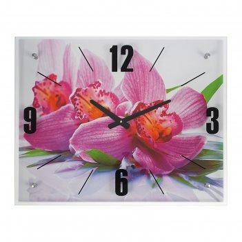 Часы настенные прямоугольные орхидея, 40х50 см