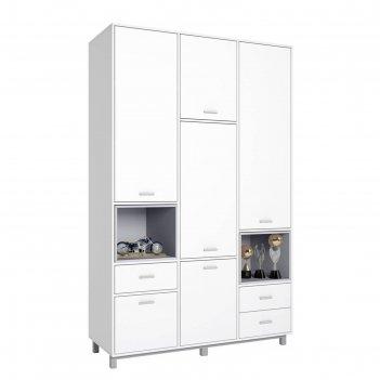 Шкаф трехсекционный polini kids mirum 2335, белый/серый