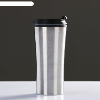 Термокружка нова 450 мл, сохраняет тепло 2 ч, серебро 7.6х18.4 см