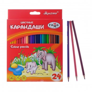 Карандаши 24 цвета мультики, стержень d=2.6 мм, трехгранные