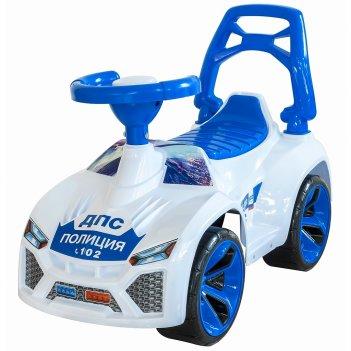 Ор021в2 каталка машинка ламбо  с клаксоном police бело-синяя