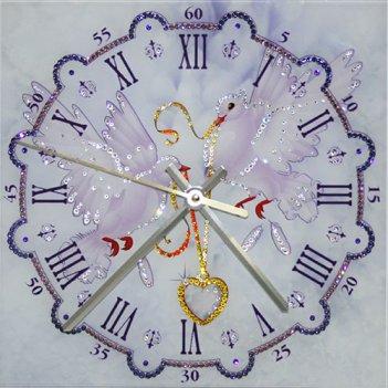 Картина сваровски - часы любовь и голуби
