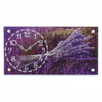 Часы настенные, серия: цветы, лаванда, 26х52 см