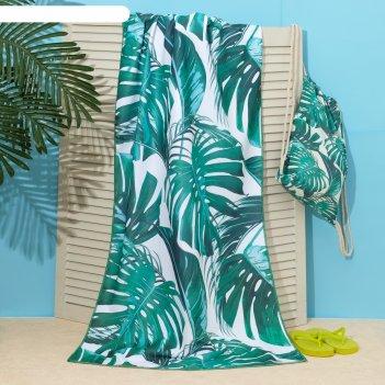 Полотенце пляжное в сумке этель тропики, 70*140 см, микрофибра, 100% п/э