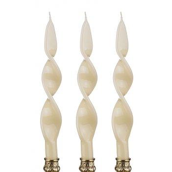 Набор свечей из 3 шт. кремовый лакированый н=27 см.