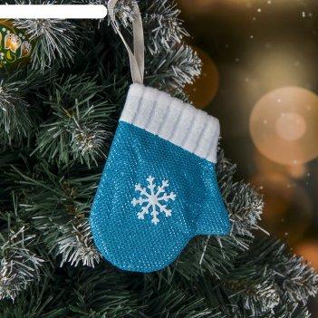 Мягкая варежка снежинка 9*11 см, голубая