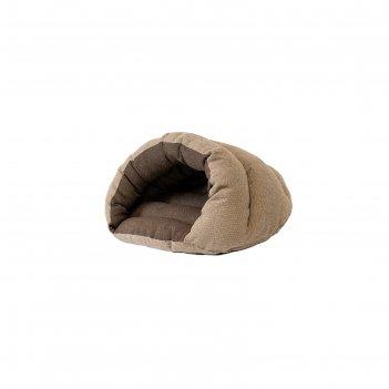 Домик ракушка пухлый, 51 х 41 х 30 см, рогожка/синтепух, бежево-серый