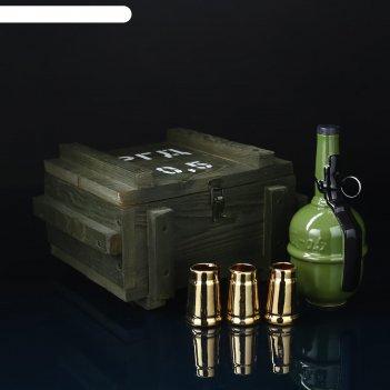 Набор для спиртного граната ргд, 5 предметов в наборе: ящик, штоф 0.5 л, р