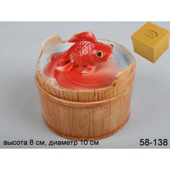 Бочонок золотая рыба высота=10 см.под.упак.