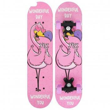 Скейтборд подростковый фламинго 62х16 см, колеса pvc 50 мм, пластиковая ра