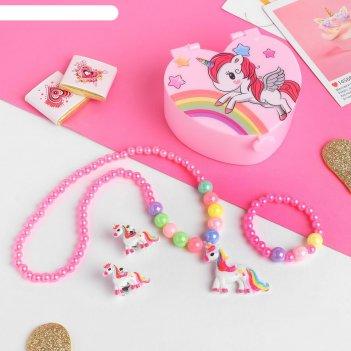 Комплект детский 3 предмета: клипсы, бусы, браслет шкатулка с зеркалом, цв