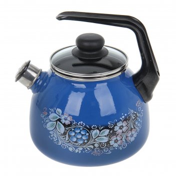 Чайник со свистком 3 л вологодский сувенир, фиксированная ручка, цвет ярко