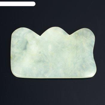 Пластина - скребок для массажа гуаша, №4, 8x6 см, нефрит