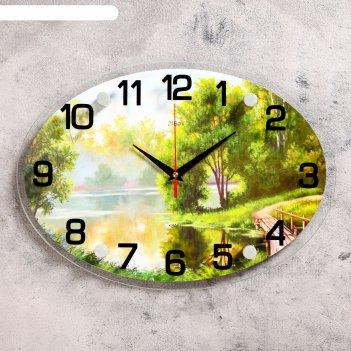 Часы настенные, серия: природа, река в лесу, микс 24х34 см