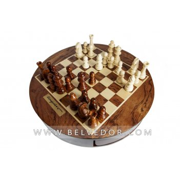 Каспаров шахматы деревянные, круглые, поле 30х30см