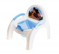 Горшок-стульчик детский маша и медведь, цвет голубой