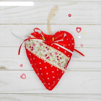 Мягкая игрушка-подвеска сердце с цветочком, виды микс