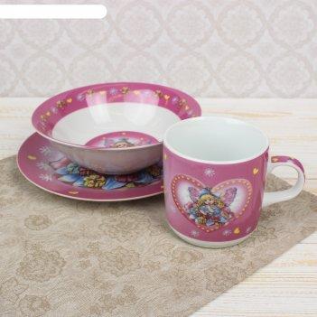 Набор детской посуды 3 предмета дюймовочка кружка 220 мл, миска 400 мл, та