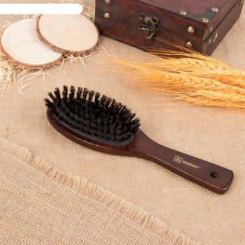Расчёска массажная, деревянная, цвет чёрный