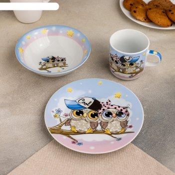 Набор детской посуды совы тинейджеры, 3 предмета: кружка 250 мл, миска 400