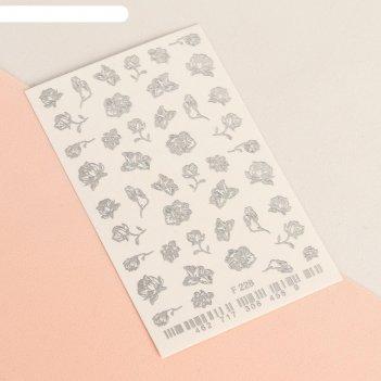 Слайдер-дизайн для ногтей «цветы», цвет серебристый