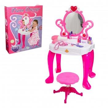 Игровой набор столик модницы с пианино, со стульчиком, со звуковыми эффект