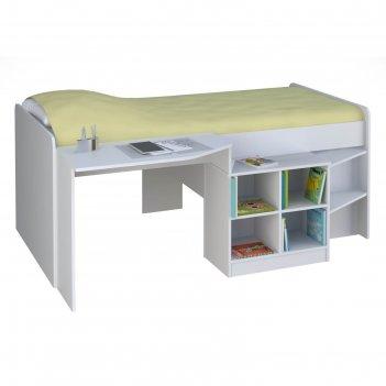 Кроватка-чердак детская polini kids simple со столом и полками 4000, цвет