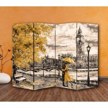 Ширма картина маслом. прогулка по лондону, двухстороняя, 200 x 160 см