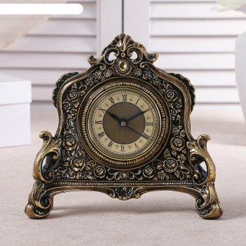 Часы настольные каминные, цвет  золотой, 21х19х6.5 см